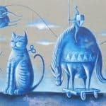 light blue dreamy cat fantasy mural in portland - detail