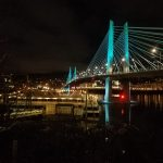 downtown waterfront nighttime tilikum crossing bridge with reflection